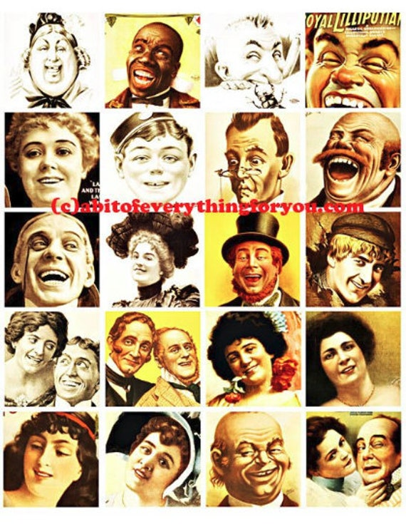 people laughing smiling vintage theater posters digital download collage sheet 2 inch squares graphics images craft printables pendants pins