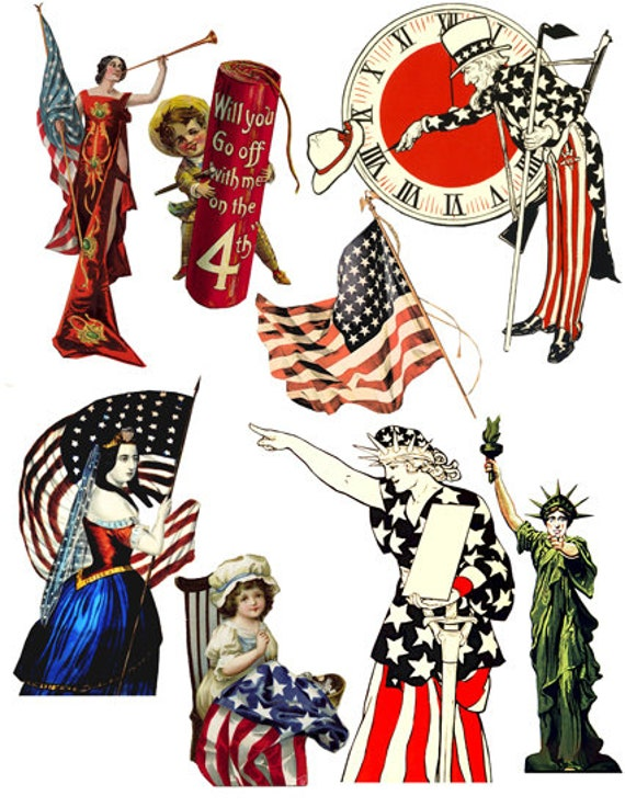 vintage Americana patriotic USA Flag art clipart digital download die cuts craft cut outs sheet graphics images printables
