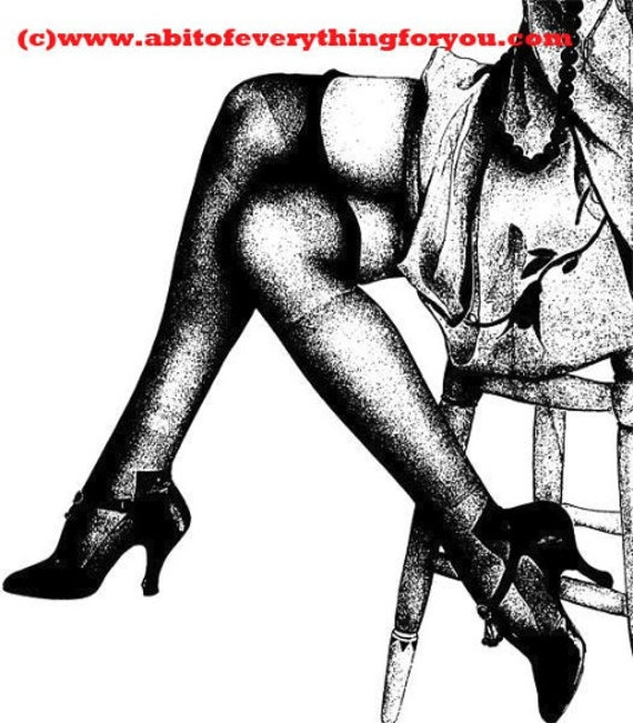 Boudoir black stockings high heel shoes womans legs printable art print clipart png downloadable digital image graphics digital stamp art