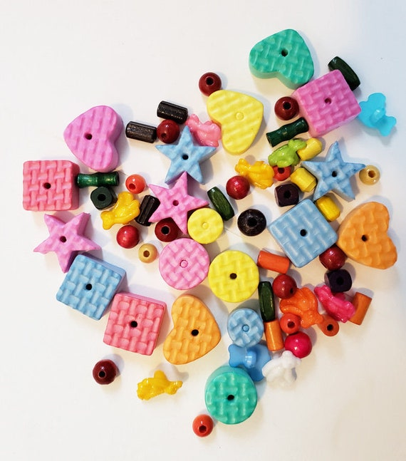 70 beads charms mixed lot foam wood plastic childrens jewelry crafts supply