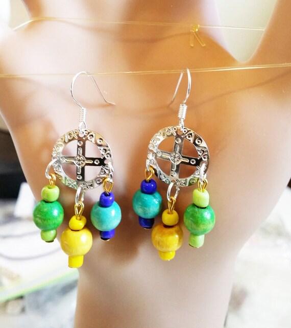 circle cross chandelier earrings, wood bead drop earrings multicolor earrings, dangles handmade boho hippie jewelry