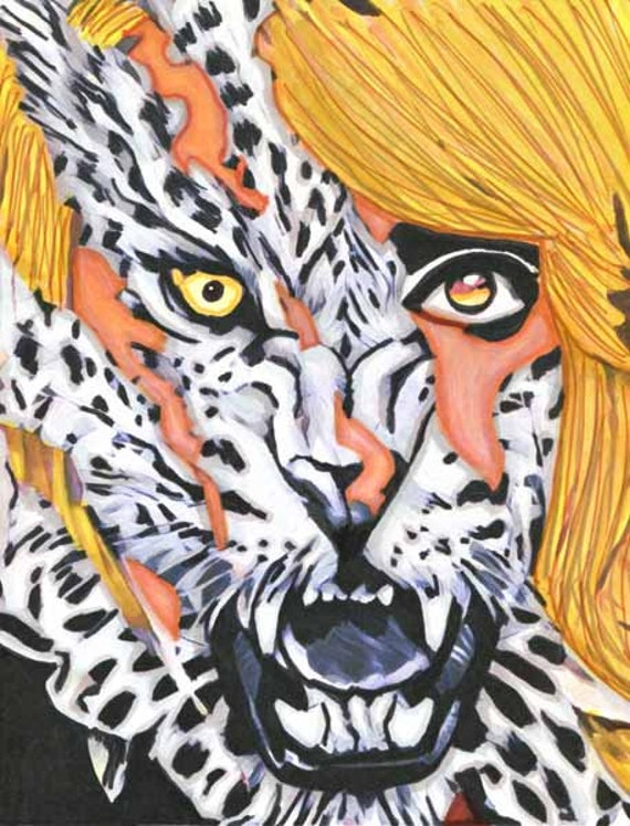 wild leopard beast lady woman animal abstract original art drawing fantasy artwork Elizavella