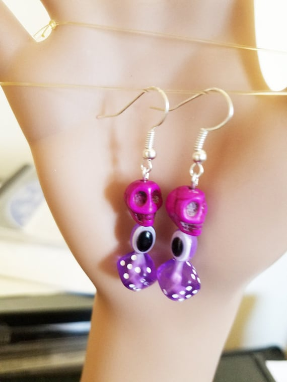 purple skull evil eye dice earrings sugar skull bead dangles stone acrylic beaded handmade goth jewelry