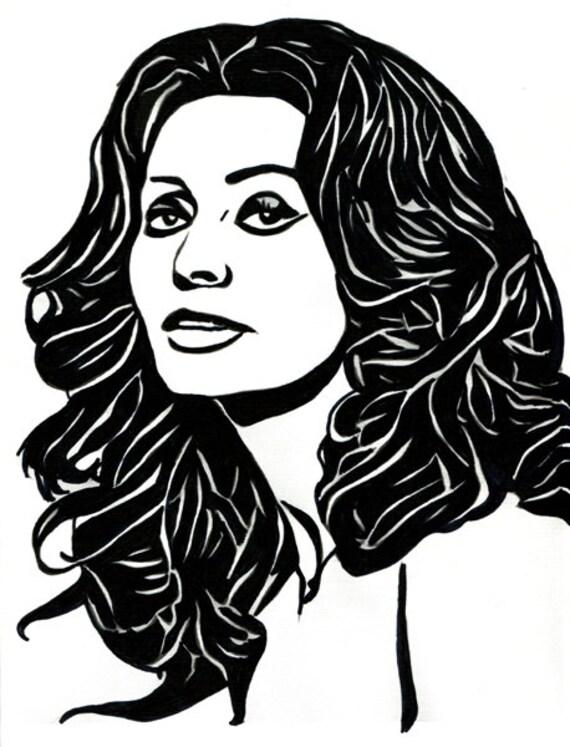 Sophia Loren original art drawing Woman abstract ink face portrait modern black & white artwork