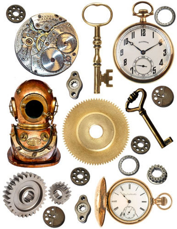 steampunk collage sheet elements gears keys  printable clipart png digital download image die cuts graphics instant downloadable cut outs