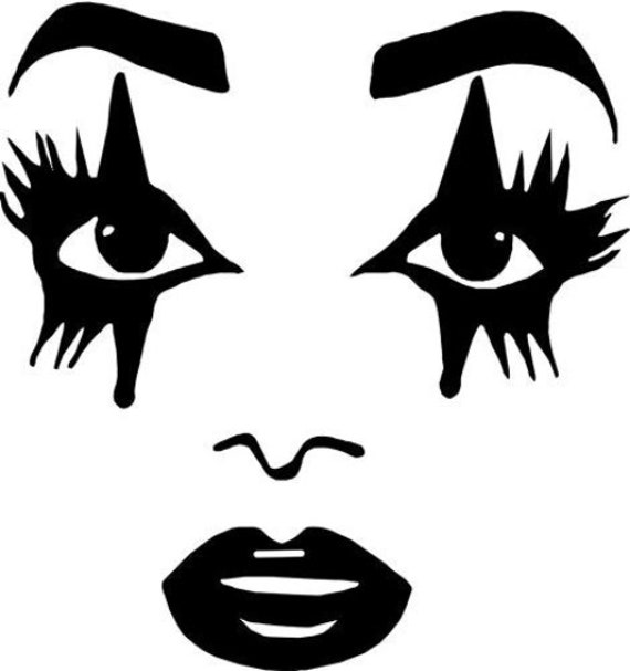 goth girl clown womans face eyes lips clipart jpg png printable wall art digital download makeup beauty graphics images black & white art