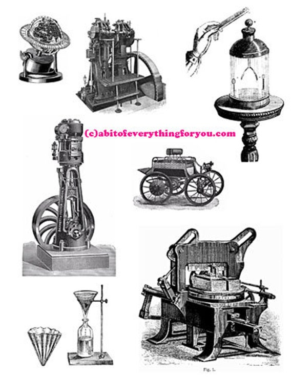 antique machines inventions steampunk clipart digital download wall art printable vintage images home livingroom bedroom office decor