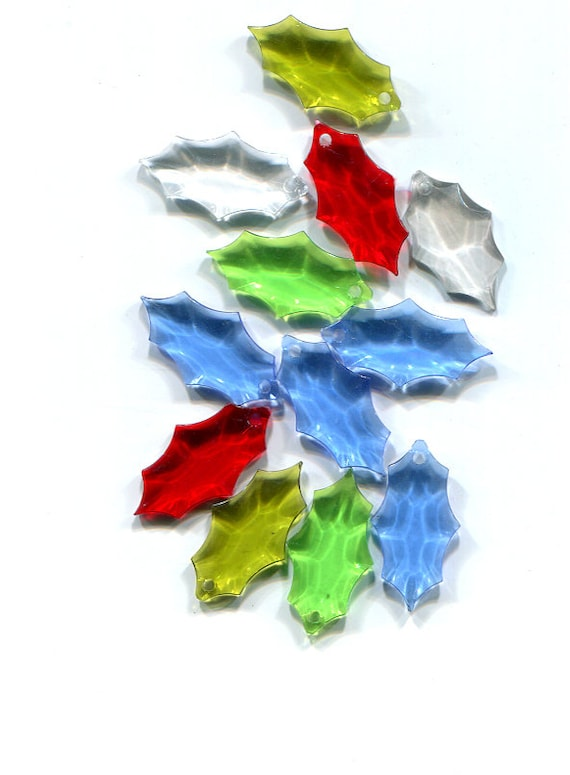 acrylic holly leaf charms pendants plastic mixed colors lot jewelry supplies