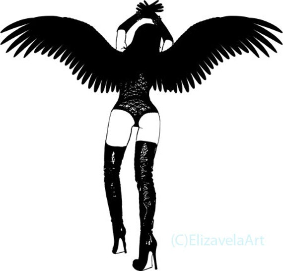 dark gothic angel woman pinup girl printable art erotica clipart png jpg download digital image downloadable graphics