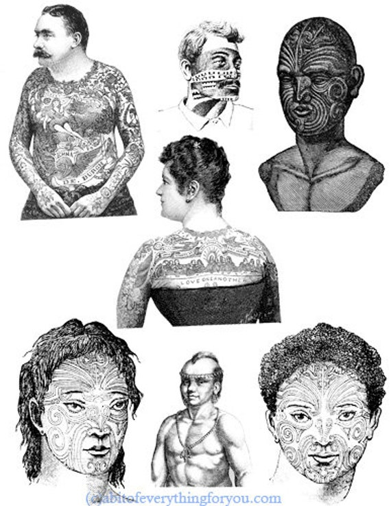 people with tattoos tribal printable art print vintage digital download images portrait illustrations collage sheet