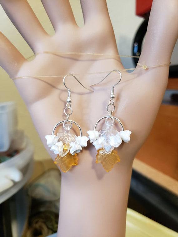 white flower orange leaf hoop earrings dangles handmade floral plastic metal jewelry