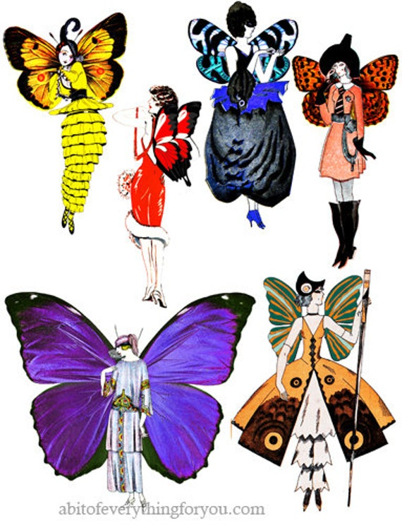 flapper girl fairy fairies collage sheet printable die cuts clipart digital instant download cut outs