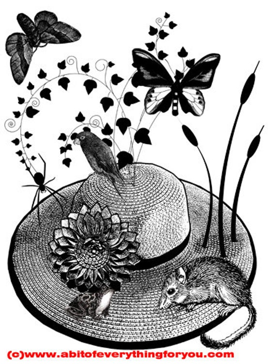 animals butterfly original art print flower straw hat mouse frog black and white nature living room bedroom kids room home decor