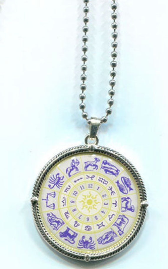 ZODIAC 12 signs pendant NECKLACE ball chain birthday symbol jewelry unisex astrology handmade