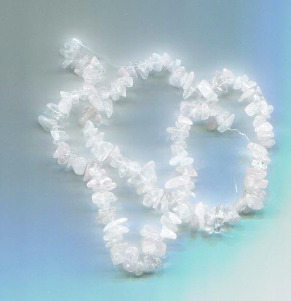 "roze quartz crystal stone chip beads gemstone 16"" strand jewelry making supplies"