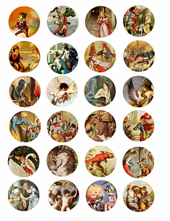 """vintage fantasy fairy tales art clipart digital download collage sheet 1.5"""" inch circles graphics downloadable images printables diy crafts"""