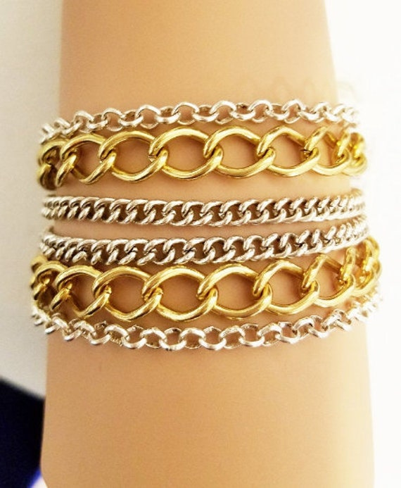 multi layers chain bracelet gold silver links metal womens mens unisex jewelry handmade