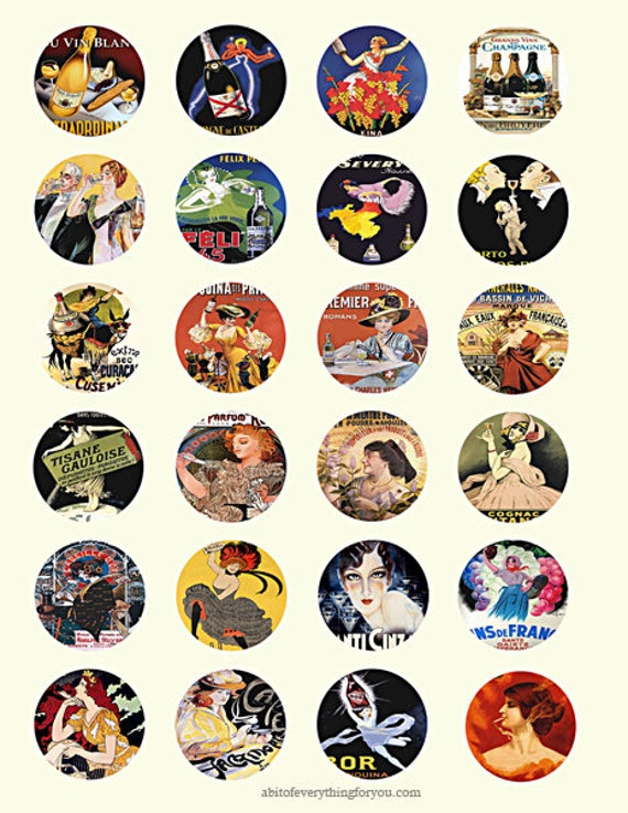 """vintage French product advertisements collage sheet 1.5"""" inch circles clip art digital downloadadable graphics images craft printables"""