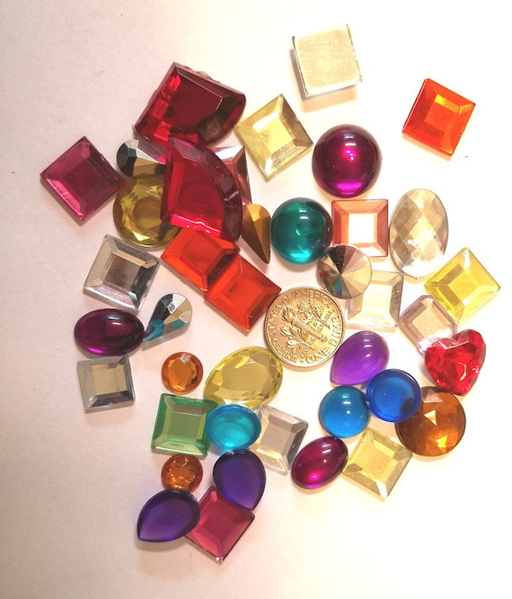 acrylic cabachon gems, 41 piece assorted sizes shapes and colors jewelry craft supplies embellishments scrapbooking