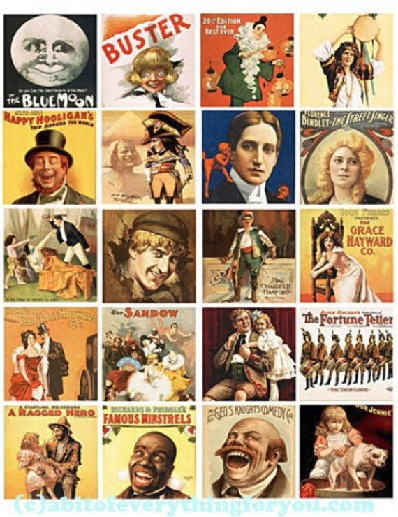 """vintage theater shows art posters clip art collage sheet 2"""" inch squares images digital instant download 1800s printable diy craft jewelry"""