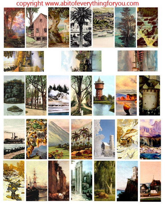 "trees landscapes vintage paintings art clipart digital download domino collage sheet 1"" x 2"" inch graphics images printables pendants magnet"