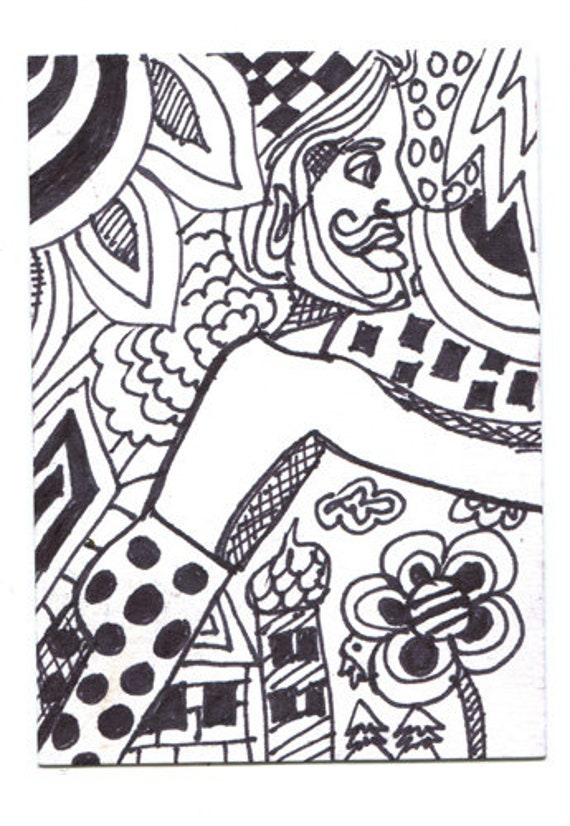 Man In Surreal World abstract art original black ink drawing sketch miniature artwork modern surrealism