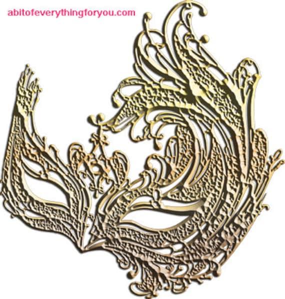 gold filigree bird mask clipart jpg png mardi gras masquerade Digital Download printable art Image graphics masks downloadable home decor