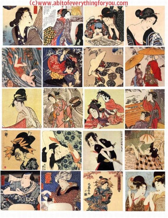vintage japanese art men women geisha girls digital download collage sheet 2 inch squares graphics images craft printables
