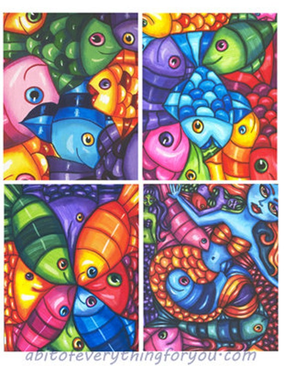 "fish mermaid original art drawings digital download 4"" x 5"" inch graphics downloadable images printables diy crafts cards scrapbooking"