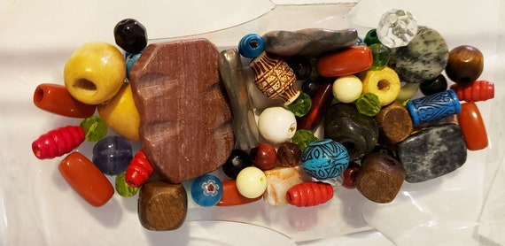 62 assorted stone wood plastic and glass beads mixed lot assorted shapes sizes colors