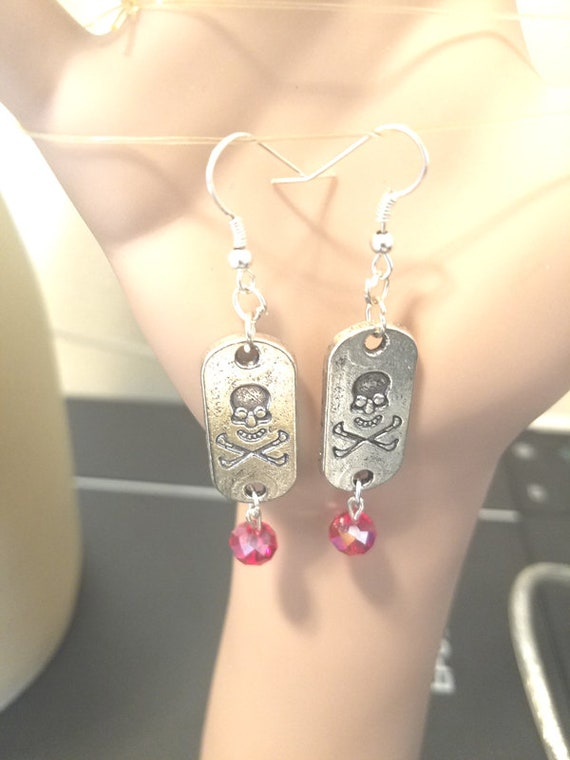 silver skull dog tag earrings red bead drops day of the dead grunge goth  handmade punk jewelry