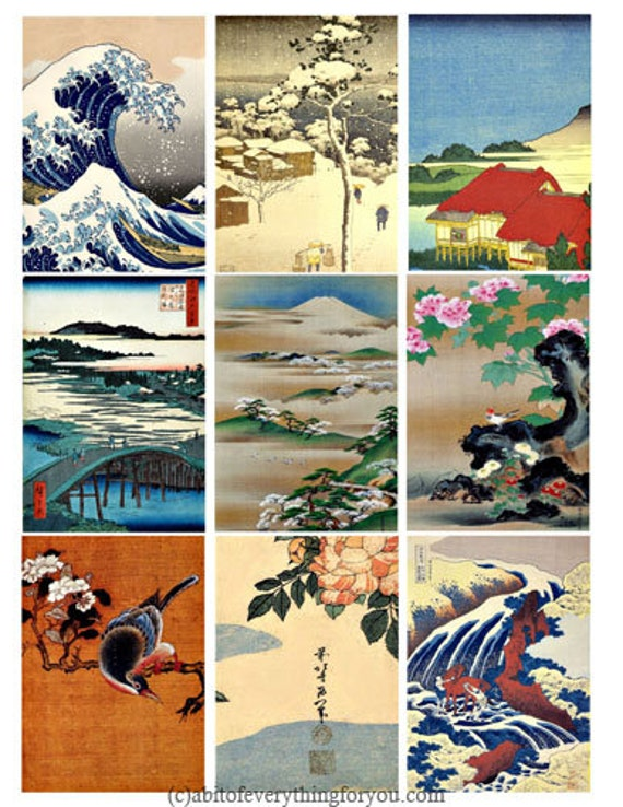 """vintage japanese watercolor landscapes waterfall flowers collage sheet 2.5"""" x 3.5"""" inch clipart aceo images digital download printables"""