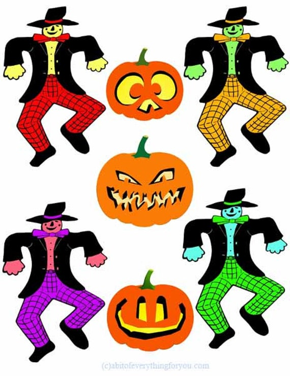 halloween scarecrows pumpkins jacko Lanterns cut outs die cuts clipart digital download printable graphics collage sheet