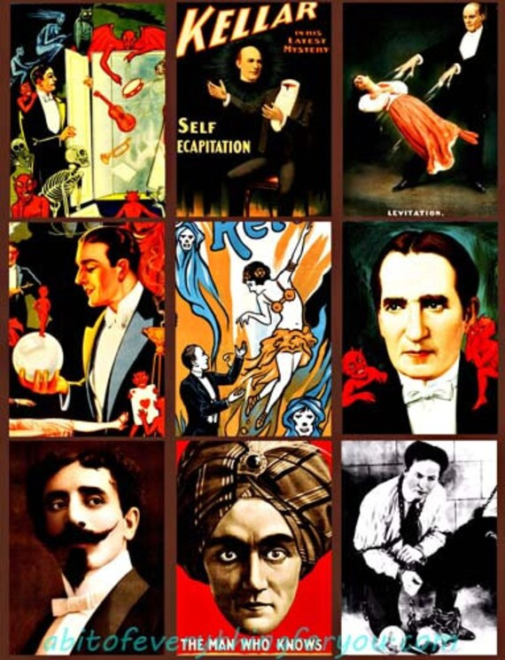 """vintage magicians magic show collage sheet digital download 2.5"""" x 3.5"""" graphics downloadable images theater photos printables aceo cards"""