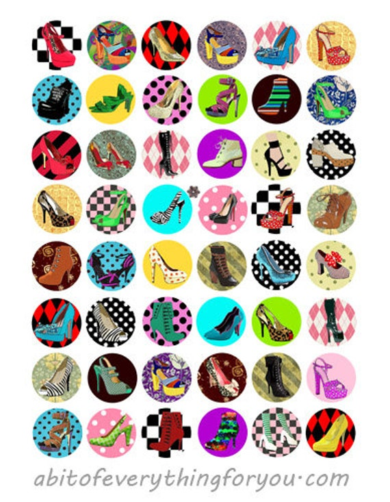 digital downloadable collage sheet high heel shoes fashion printables geometric patterns clipart 1 inch circle images DIY jewelry making
