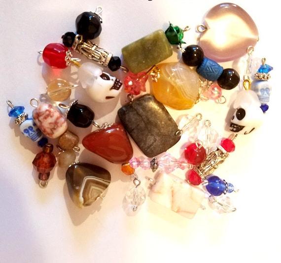 30 bead drops charms pendants mixed lot stone glass acrylic jewelry lot