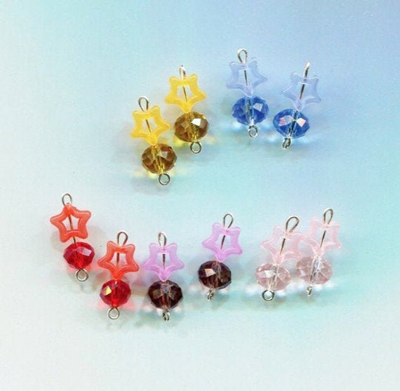acrylic star bead drops charms glass plastic bead pendants 10 piece 20mm long
