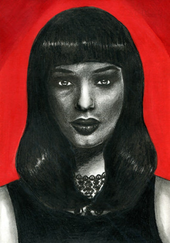 original ink pencil drawing Egyptian princess woman portrait acrylics face red egypt people