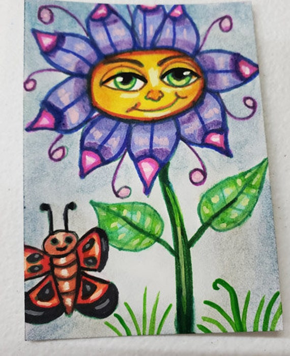 Happy Face flower butterfly painting aceo original art atc acrylics markers fairytale whimsical fantasy modern miniature artwork