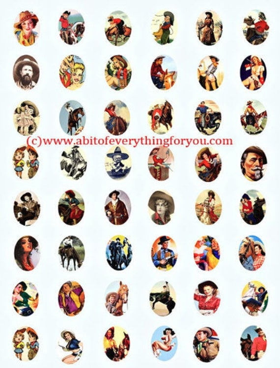 vintage cowboys cowgirls 18mm x 25mm ovals collage sheet clip art digital download graphics western images pinups printables pendants