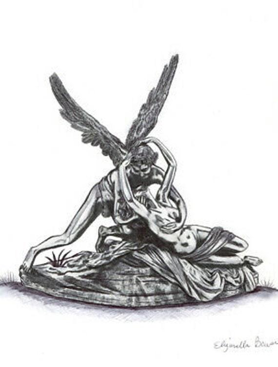 Cupid and Psyche pen ink abstract DRAWING ORIGINAL art fantasy Goddess Angel illustration