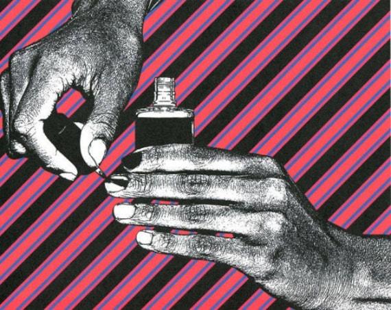 hands nail polish maicure art print original fashion beauty makeup modern pop art red black stripes black and white illustration