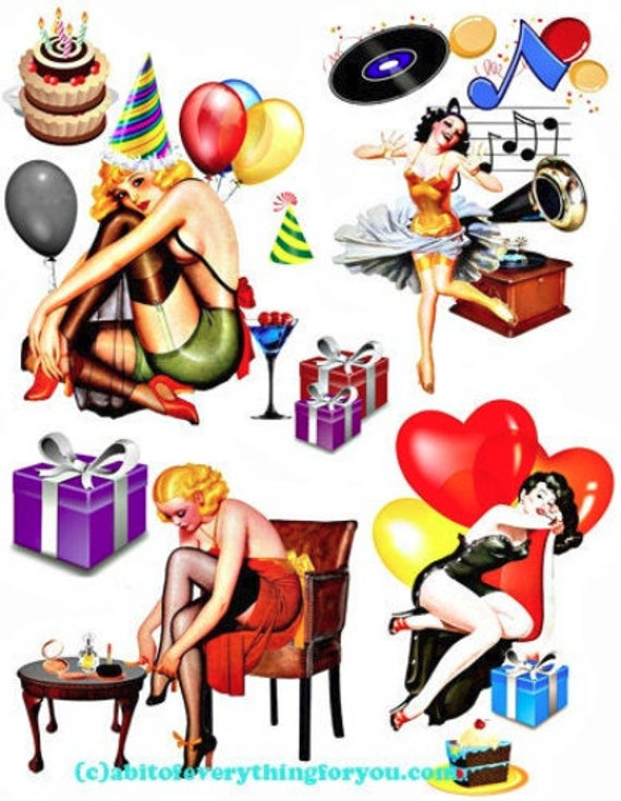 party pinup girls die cuts clipart digital download craft printables collage art sheet graphics downloadable images diy crafts scrapbook