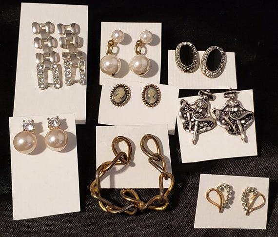 vintage post earrings dangles lot 8 pairs silver gold metal earrings pearl crystal