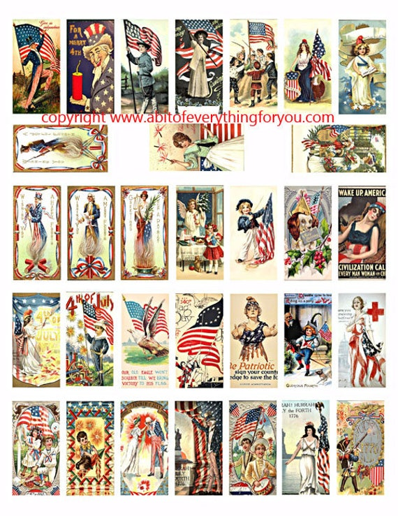 "vintage 4th of july patriotic USA Flag art clipart digital download domino collage sheet 1"" x 2"" inch graphics images printables"
