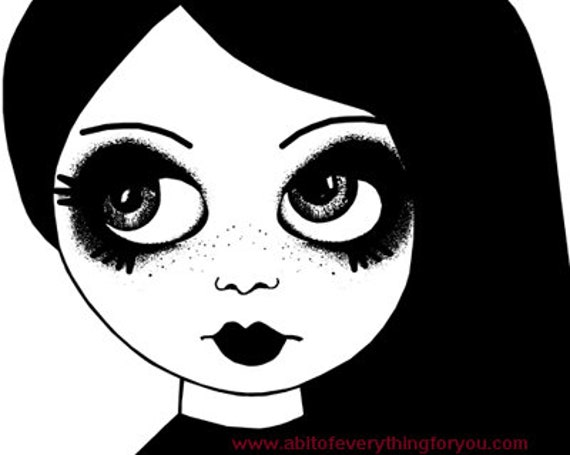 Big eye goth doll face big eyes girl printable art clipart png download digital image graphics black and white artwork
