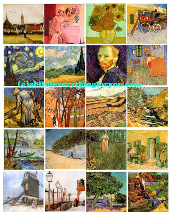 vincent van gogh abstract  art collage sheet digital download 2 inch squares graphics images printables for pendants pins magnets