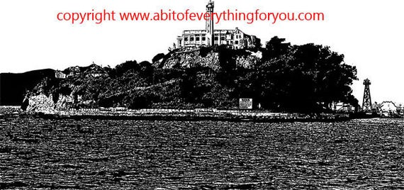 alcatraz island abstract art printable png digital download image graphics black and white sanfrancisco california landscape artwork