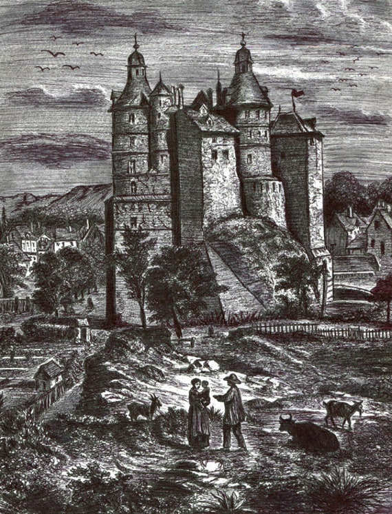 medieval castle original ink drawing kingdom landscape illustration fantasy trees land black and white art