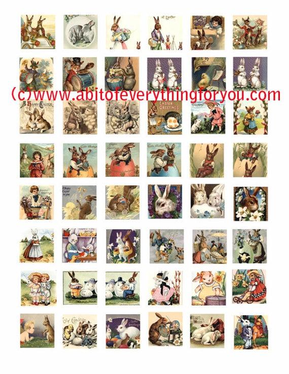 easter bunny rabbit baby chicks clip art collage sheet 1 inch squares graphics vintage postcard images digital download craft printables